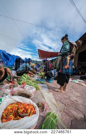 Lao Cai, Vietnam - Sep 7, 2017: Local Market In Y Ty, Bat Xat District. Most Ethnic Minority People