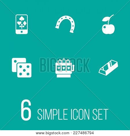 Set Of 6 Gambling Icons Set. Collection Of Jackpot, Gambling Cube, Berry And Other Elements.