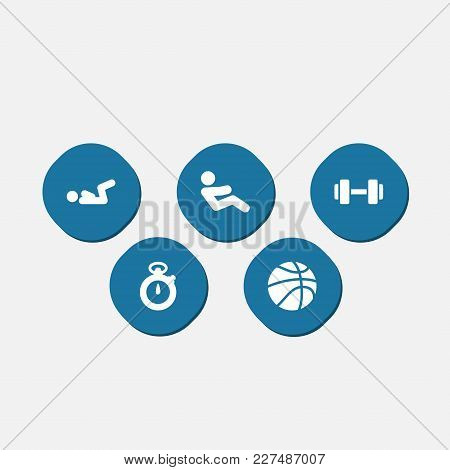 Set Of 5 Bodybuilding Icons Set. Collection Of Dumbbell, Basketball, V Crunch And Other Elements.