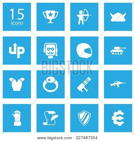 Set Of 15 Game Icons Set. Collection Of Assault Rifle, Magic Ring, Race And Other Elements.
