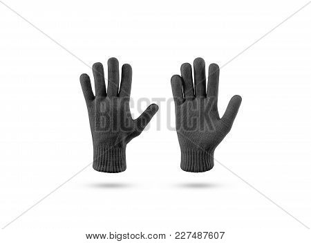 Blank Black Knitted Winter Gloves Mock Up Set, Front And Back Side View. Clear Ski Or Snowboard Mitt