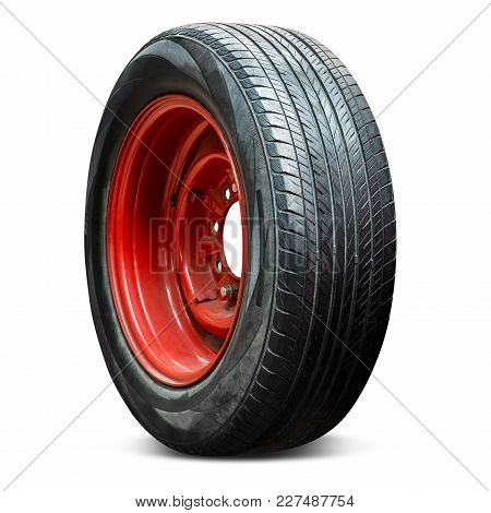 Old And Grunge Car Wheel And Tire Isolated On White Background With Clipping Path