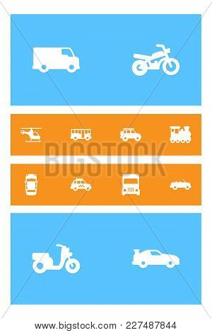 Set Of 12 Transport Icons Set. Collection Of Motorcycle, Lorry, Helicopter And Other Elements.