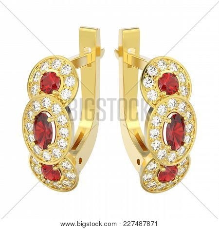 3d Illustration Isolated Yellow Gold Three Stone Solitaire Diamond Ruby Earrings With Hinged Lock On