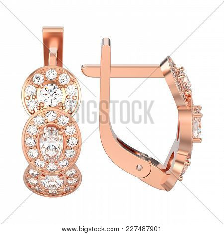 3d Illustration Isolated Rose Gold Three Stone Solitaire Diamond Earrings With Hinged Lock On A Whit