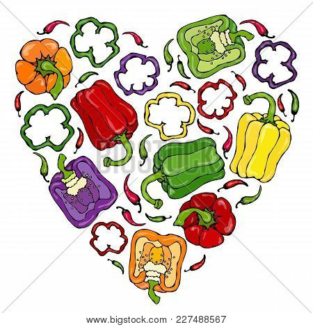 Heart Of Purple, Red, Orange, Green, Yellow, Violet Bell Peppers. Whal Pepper, Half Of Sweet Paprika