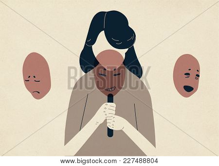Woman With Lowered Head Covering Her Face With Masks Expressing Various Emotions. Concept Of Changin