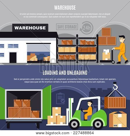 Warehouse Colored And Flat Composition Or Banner Set With Loading And Unloading Descriptions Vector