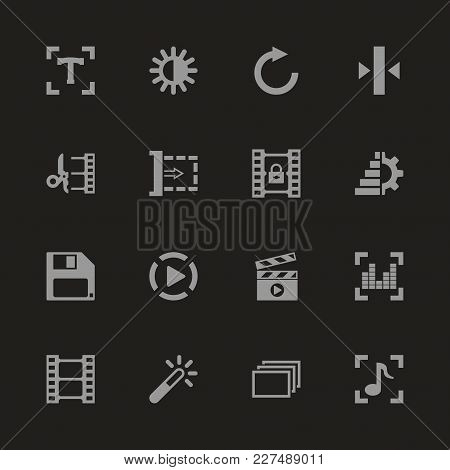 Video Editing Icons - Gray Symbol On Black Background. Simple Illustration. Flat Vector Icon.