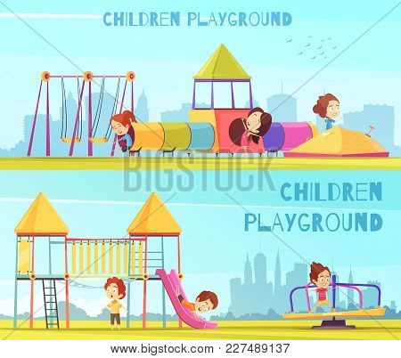 Children Playground Banners Collection Of Horizontal Doodle Style Compositions Views Of The City And