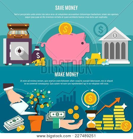 Money Flat Composition Set With Save And Make Money Headlines And Flat Elements Vector Illustration