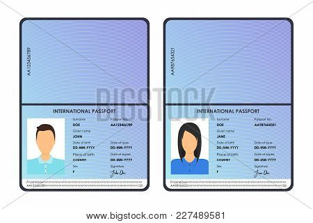 Cartoon International Male And Female Passports Set Tourism And Travel Concept Flat Design Style. Ve
