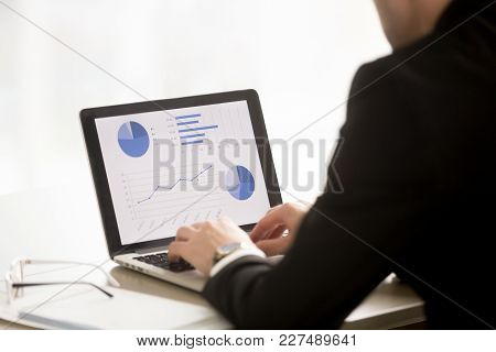Businessman Financial Analyst, Executive Manager Working On Laptop With Economical Charts, Profitabi