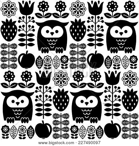 Scandinavian Seamless Cute Pattern With Owl And Flower, Inspired By Swedish And Finnish Folk Art, Bl