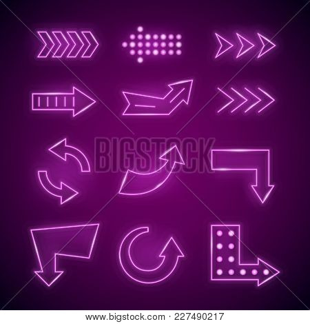 Realistic Detailed 3d Neon Arrow Set Bright Glowing Signs Or Signboard Electric Decoration For Night