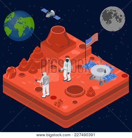 Space Discovery Concept 3d Isometric View Astronaut With A Flag On Surface Moon. Vector Illustration
