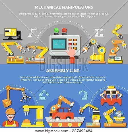 Two Horizontal Robotic Arm Composition Set With Mechanical Manipulators And Assembly Line Descriptio