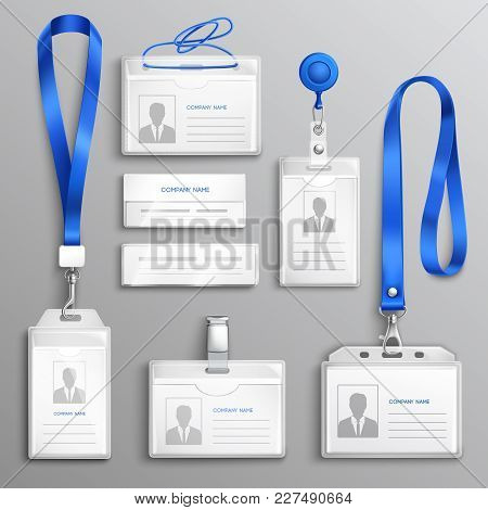 Clear Plastic Badges Id Cards Holders Collection With Blue Neck Lanyards And Retractable Reel Clip R