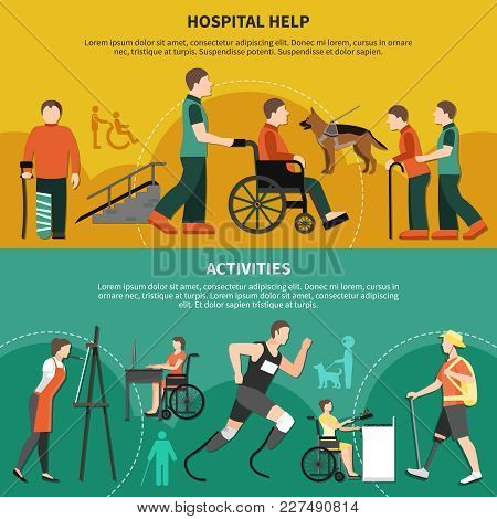 Two Horizontal Disabled Person Banner Set With Hospital Help And Activities Descriptions Vector Illu