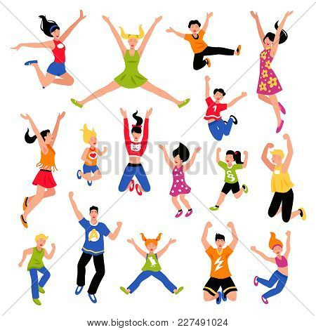 Happy Jumping Kids Teens And Adult People Of  Different Gender And Age Isometric Colored Set Isolate