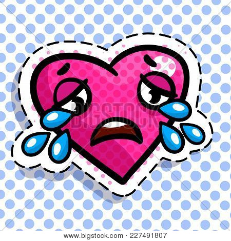 Red Heart Cries On Dots Background. Art Design For Valentines Day Greetings And Card In Pop Art Syle