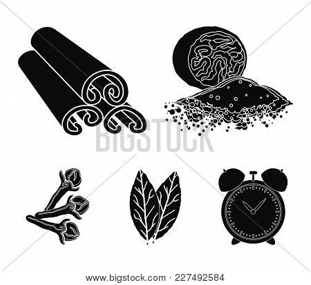 Nutmeg, Cinnamon, Bay Leaves, Cloves.herbs And Spices Set Collection Icons In Black Style Vector Sym