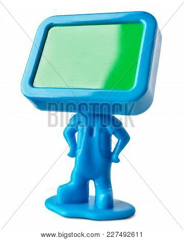 Miniature Figure With Empty Board Instead A Head.