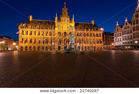 Brabo Fountain and Town hall (1564) at Grote Markt Antwerp. Belgium