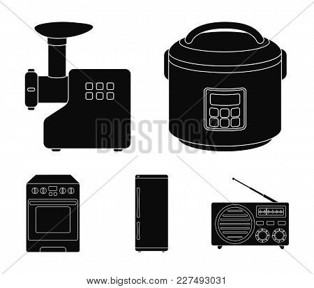 Multivarka, Refrigerator, Meat Grinder, Gas Stove.household Set Collection Icons In Black Style Vect