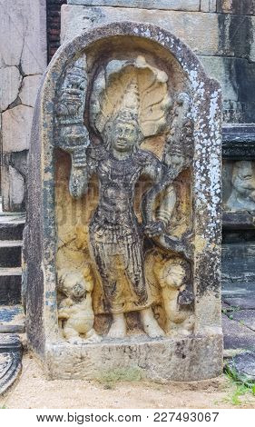 An Ancient Stone Carving At Pollanaruwa In Sri Lanka, One Of The Most Important Buddhist Shrines In