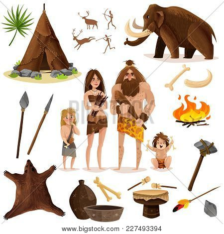 Cavemen Decorative Icons Set With Hut Weapon For Hunting Mammoth Bonfire Cartoon Signs Isolated Vect