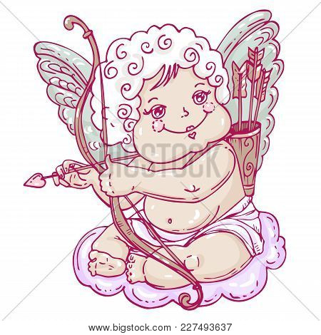 Angel Or Cupid In Hand Drawn Style.the Angel Sits On A Cloud With An Arrow And Onion In The Hands. V