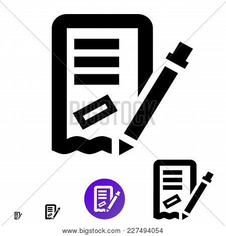 Order Or Invoice Icon For Business, E-commerce. Vector Line Icon With The Image Of A Pencil, A Text