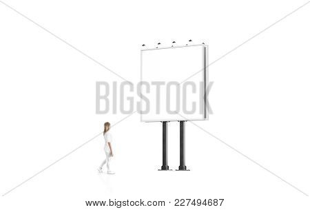 Woman Stand Beside Blank White Banner Mockup On City Square Billboard. Empty Bill Board Mock Up Isol