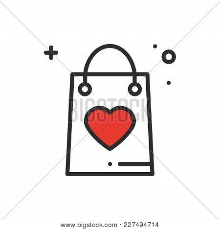 Shopping Package Line Icon. Present, Gift Box. Happy Valentine Day Sign And Symbol. Party Celebratio