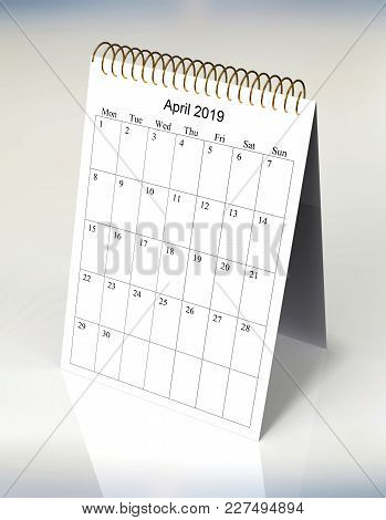 The Original Calendar For April, 2019.  The Beginning Of Week - Monday