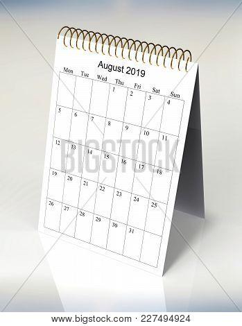 The Original Calendar For August, 2019.  The Beginning Of Week - Monday