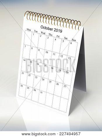 The Original Calendar For October, 2019.  The Beginning Of Week - Monday