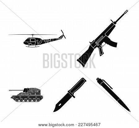 Assault Rifle M16, Helicopter, Tank, Combat Knife. Military And Army Set Collection Icons In Black S