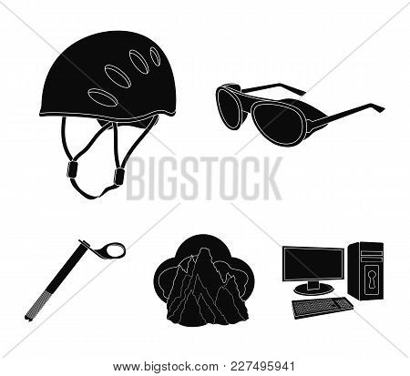 Helmet, Goggles, Wedge Safety, Peaks In The Clouds.mountaineering Set Collection Icons In Black Styl