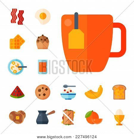 Breakfast Healthy Food Meal Icons Drinks Flat Design Bread Egg Lunch Healthy Meat Menu Restaurant Ve