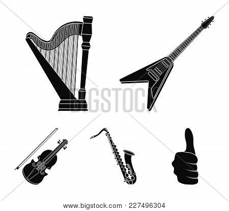 Electric Guitar, Loudspeaker, Harp, Saxophone, Violin.music Instruments Set Collection Icons In Blac