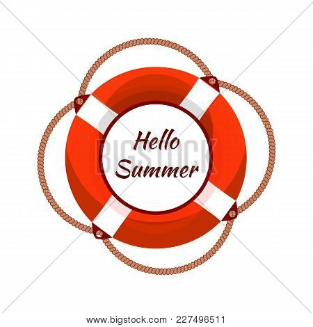 Vector Illustration Of The Lifebuoy Isolated On White Background, Colored Logo Template, Hello Summe