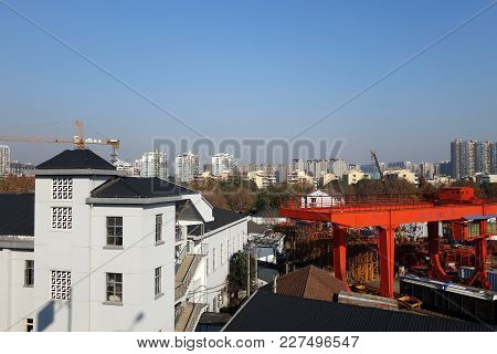 Hangzhou, China-jan 14, 2018: Cityscape Of Hangzhou City China. Block Of Flats Living Houses