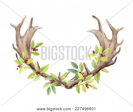 Horns Of A Deer Male On Isolated White Background. Berries And Branches With Leaves Woven Into Horns