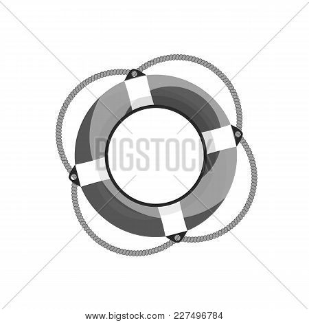 Vector Illustration Of The Lifebuoy Isolated On White Background, Black And White Logo Template.