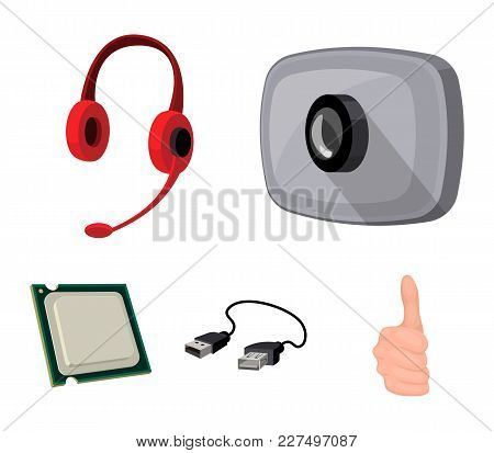 Webcam, Headphones, Usb Cable, Processor. Personal Computer Set Collection Icons In Cartoon Style Ve