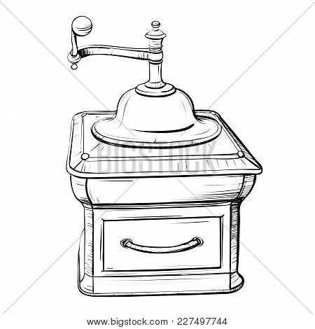 Retro Black And White Picture - Sketch Of A Vintage Coffee Grinder On A White Background