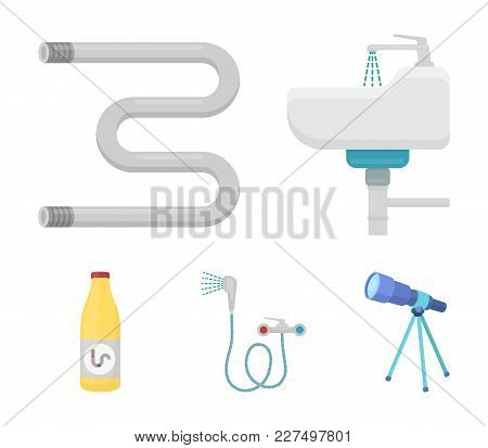 Washbasin, Heated Towel-dryer, Mixer, Showers And Other Equipment.plumbing Set Collection Icons In C