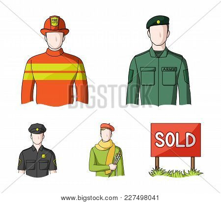 Military, Fireman, Artist, Policeman.profession Set Collection Icons In Cartoon Style Vector Symbol
